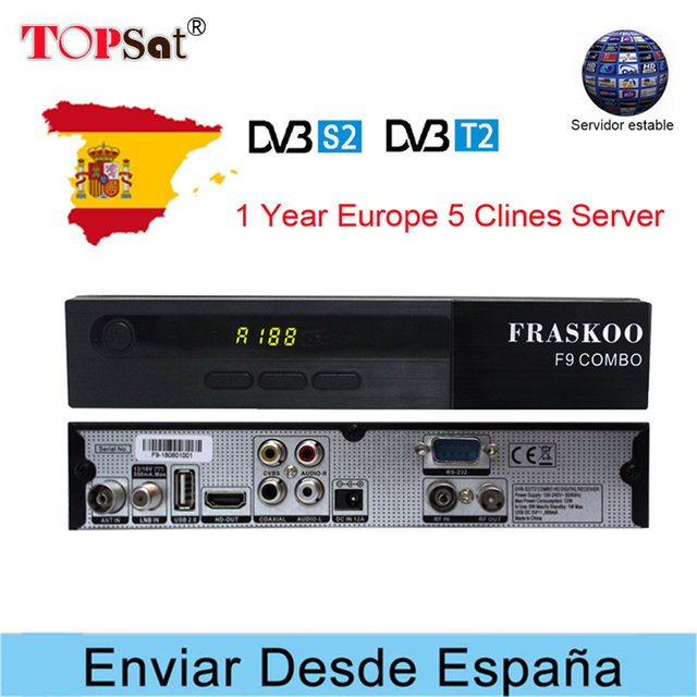 FRASKOO F9 Satellite Receiver DVB-S2/S DVB-T2/T USB WiFi 1080P HD Support Europe Clines for 1 Year Spain IPTV PowerVu Biss key