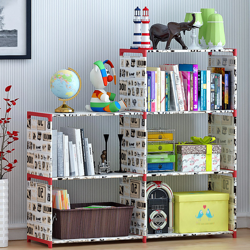 Five grid living room multi-functional non-woven cloth shelves home childrens study floor bookshelfFive grid living room multi-functional non-woven cloth shelves home childrens study floor bookshelf