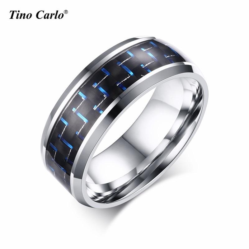 Polishing Black Plated Blue&Red Color Carbon Fiber Men Ring 8MM Stainless Steel Punk Men Rings SIZE 7~12 SF-153