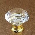 Novo 40mm Forma de Diamante de Cristal Puxadores de Gaveta Do Armário Armário Roupeiro Shoesbox Puxa Gabinete Alças Armário de Cozinha Botões De Vidro