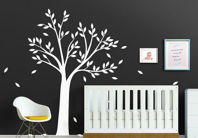 Boom Behang Babykamer.Grote Witte Boom Muurtattoo Voor Babykamer Nursery Slaapkamer Vinyl