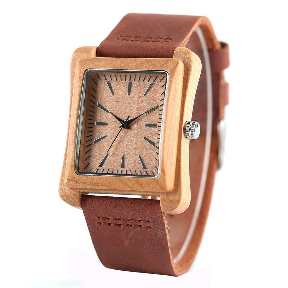 genuine leather band nature wood watch16
