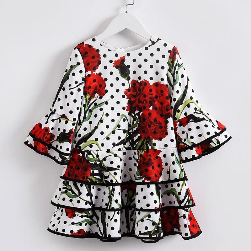 все цены на Spring Kids girls Clothing sister look clothes children Fashion teenager 100-160cm print Dress girl party formal Layered dresses