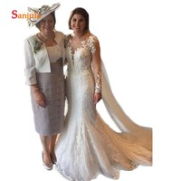 Sheath Satin Mother of the Bride Dress with 3/4 Sleeve Jacket Pleats Knee Length Elegant Groom Mother Dress vestido novia D246