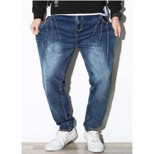 ФОТО summer loose men's jeans large sizes harlan jeans xxxxxxl men clothing man baggy trousers blue harem jeans male bottoms