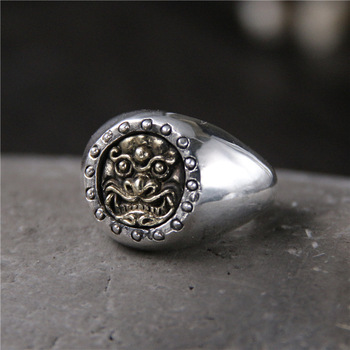 Thai Silver S925 Sterling Silver Brave Ring Retro Personality Unique Light Body Open Ended Male Ring