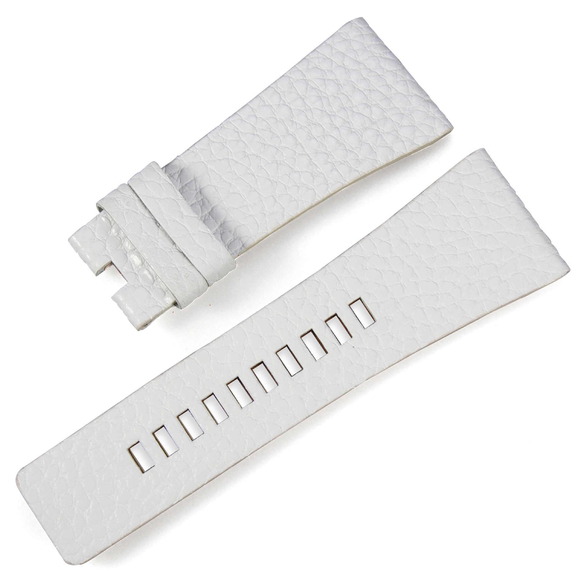 Correa de cuero genuino blanca con textura litchi para reloj diésel de 24mm 26mm 28mm de marca para hombre y mujer accesorios de