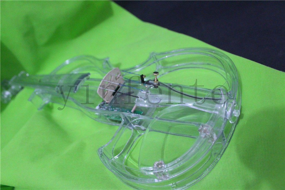 Красочные синий зеленый прозрачный Электрический Скрипка Кристалл скрипка 2
