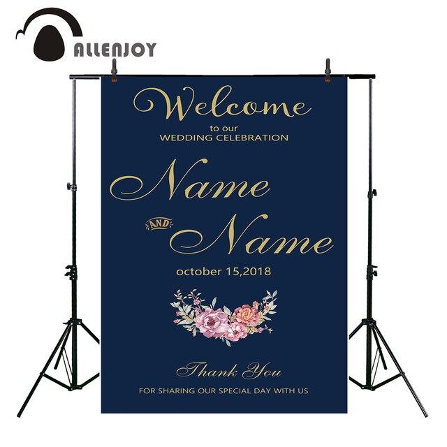 Allenjoy Wedding Celebration Invitation Photo Backdrop For Party Decor Blue Gold Flowers Bridal Shower Photography Background