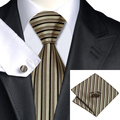2016 Fashion Tan Brown Black Vertical Stripe Silk Tie For Wedding Dating Party Tie Hanky Cufflinks Set C-529