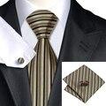 2016 Moda Marrom Tan Preto Vertical Stripe Laço De Seda Para O Casamento Partido Namoro Tie Hanky Abotoaduras Set C-529