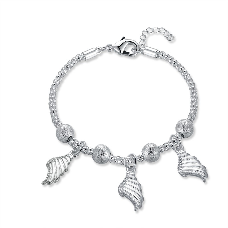 JEXXI New Arrival Luky Angel Wings with Bead Chain Charm Bracelet for Women Wedding Jewe ...
