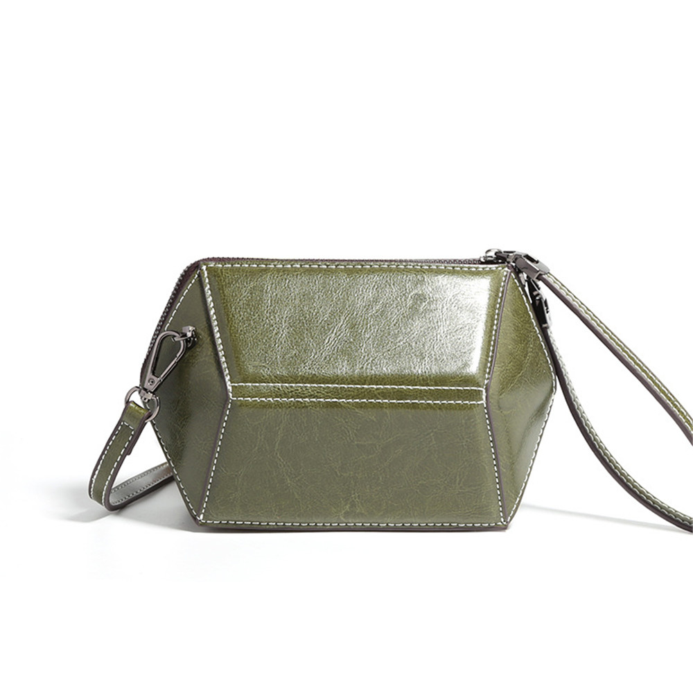 Vintage Style Women Small Flap Bag Split Leather Zipper Crossbody Bag Luxury Brand Design Zipper Shoulder