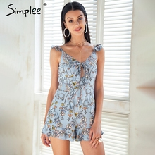 Simplee V neck strap print jumpsuit women Tie up bow short romper playsuit Ruffle high waist