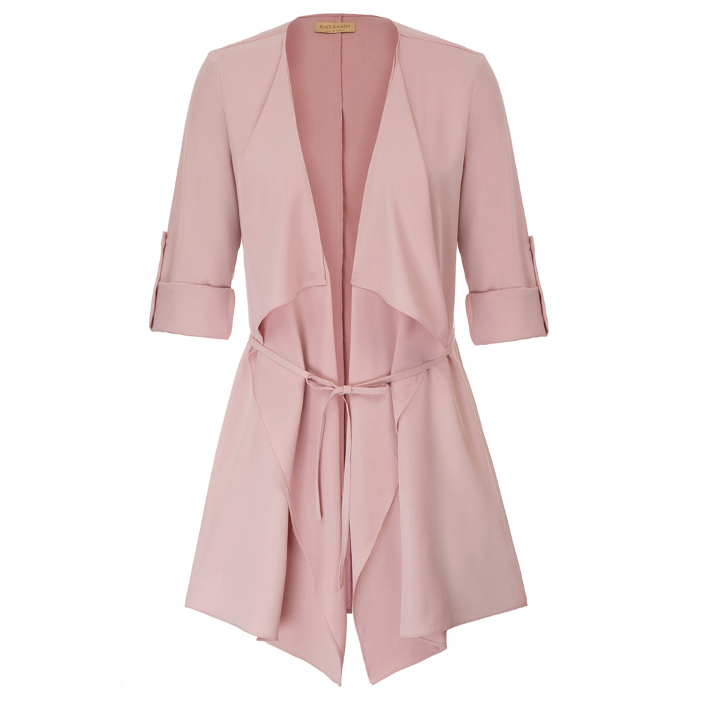 KK clothes pink Women   Trench   elegant sashes office ladies tops Thin   Trench   Long Sleeve Waterfall Collar Open Front Coat Autumn