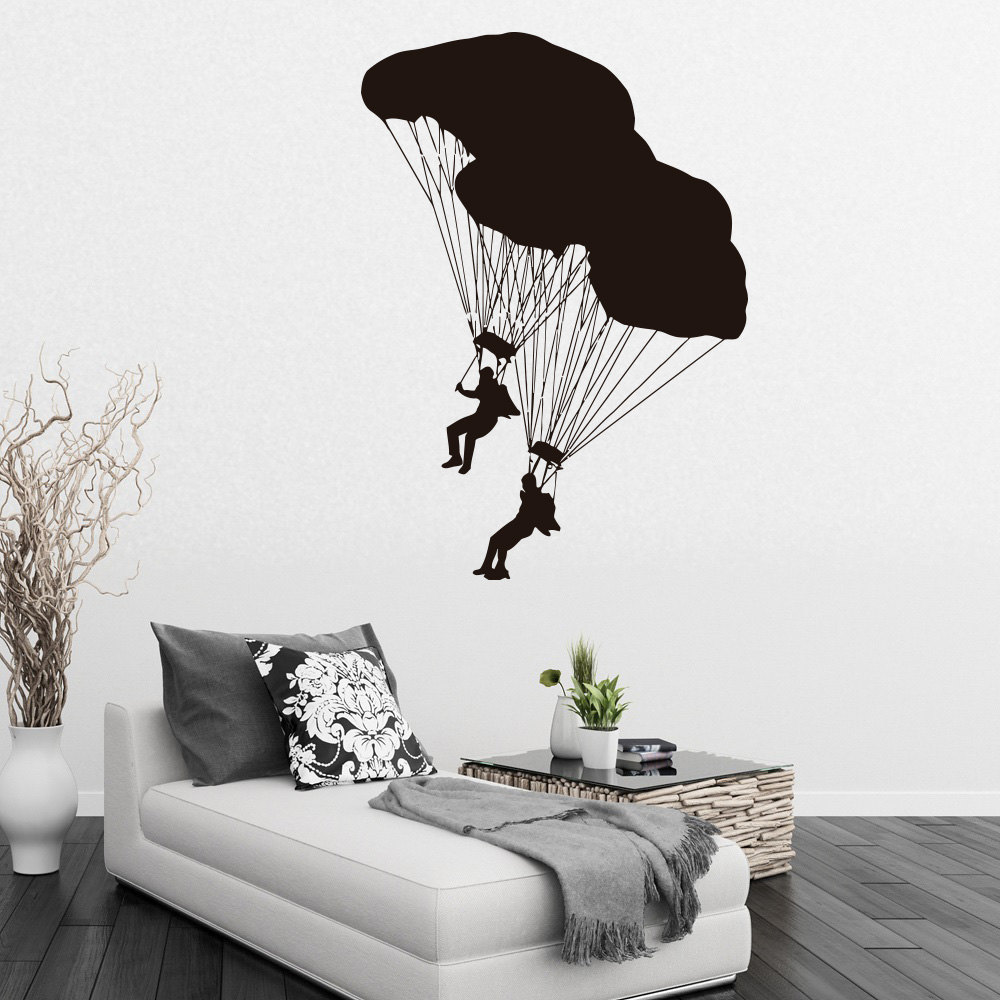 compare prices on mirror wall murals online shopping buy low two shy divers with parachute pattern wall mural cool extreme sport home art decoration wallpaper decals