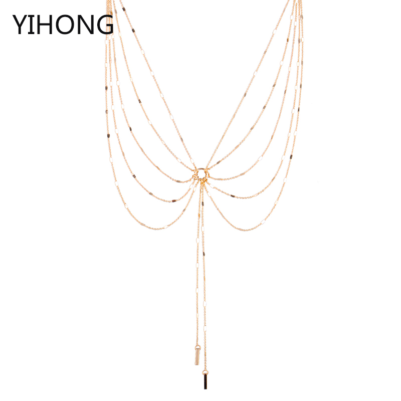 Multilayered Bar Pendant Long Chain Necklace Butterfly Shape Fashion Luxury Cloth Accessories for Women Jewelry