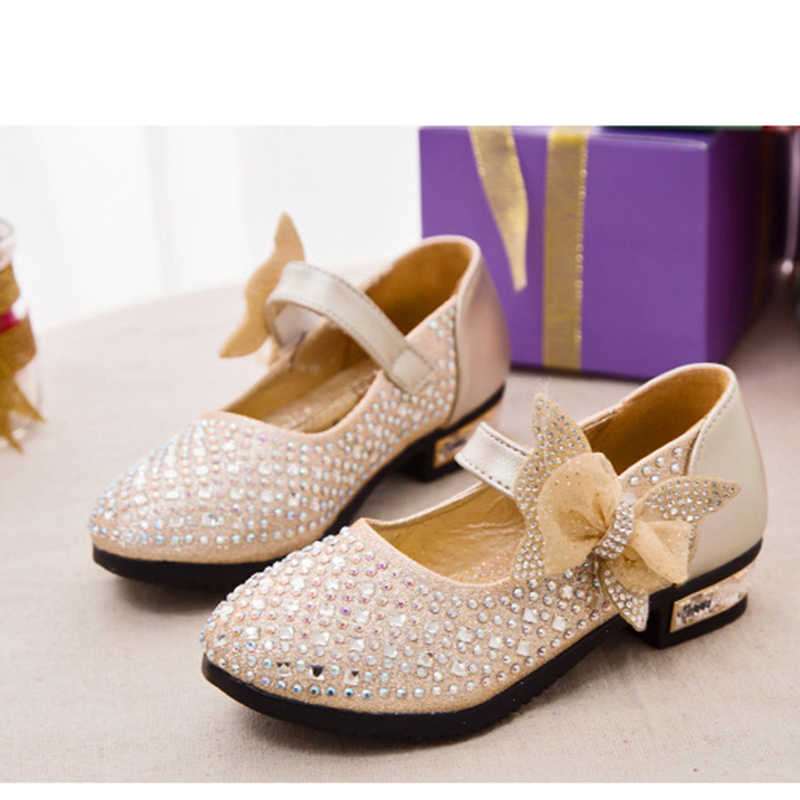 a75c11e5fb0 New Children's Little Girl High Heel Rhinestone Gold Blue Silver Princess  Shoes For Girls Kids School Wedding Party Dress Shoes