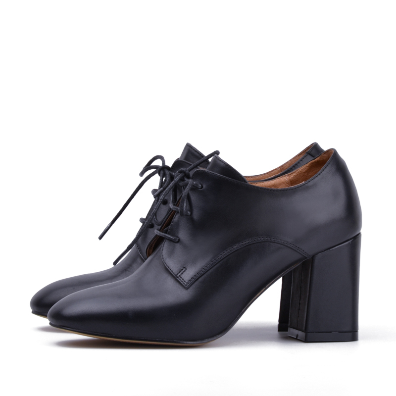 Donna in Clearance Pumps Women Shoes High heels Platform Genuine Leather Black Metallic Square Toe Shoes-in Women's Pumps from Shoes    3
