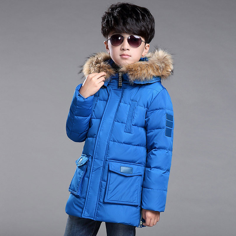 -30 degrees teenage boys Childrens clothing with fur hood outerwear coat for boys kids clothing casual long down jacket parkas