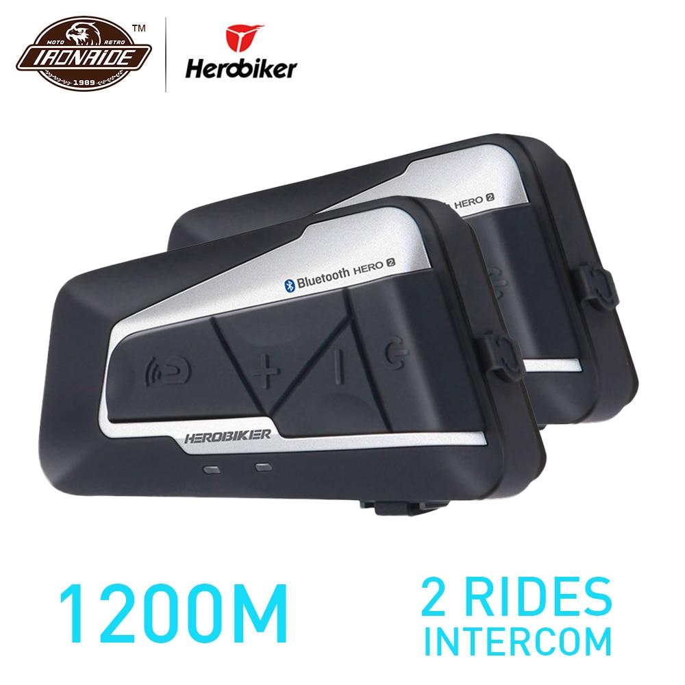 HEROBIKER 2 Sets 1200 M BT Motorrad Helm Intercom Wasserdichte Drahtlose Bluetooth Moto Headset Sprech FM Radio für 2 Fahrten