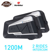HEROBIKER 2 Sets 1200 M BT del intercomunicador del casco de la motocicleta impermeable inalámbrica Bluetooth Moto auriculares Interphone de Radio de FM para 2 paseos
