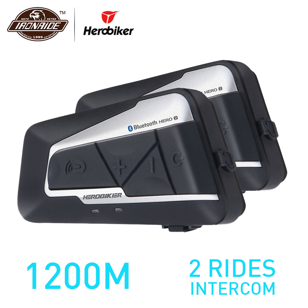 HEROBIKER 2 ensembles 1200 m BT Moto Casque Interphone Étanche Sans Fil Bluetooth Moto Casque Interphone FM Radio pour 2 Manèges