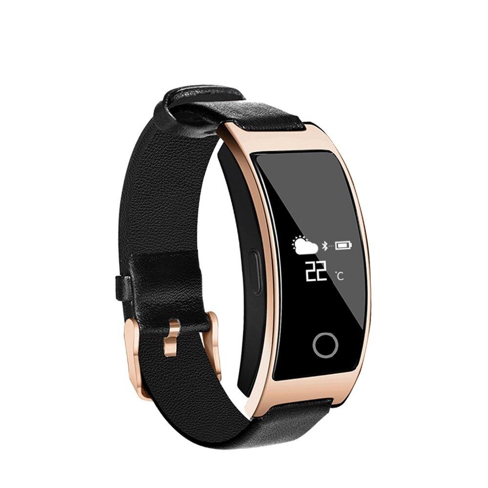 imágenes para Oro CK11 Presión Arterial de Oxígeno Oxímetro Pulsómetro Cicret Pulsera Elegante Reloj de Pulsera para el iphone de Apple Teléfono Android