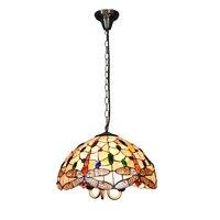 Oświetlenie Tiffanylampe Zabytkowe Witraże Tiffany Żyrandol Wiszące Światła Salon Dragonfly Wzór Abażur 16