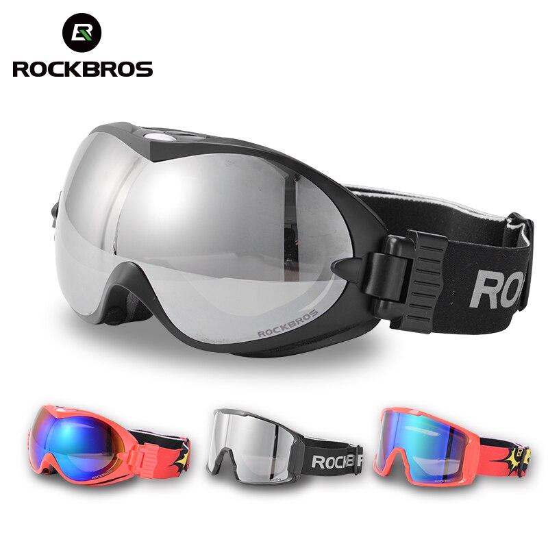 ROCKBROS Occhiali Da Sci Doppio Strato Anti-Fog Occhiali Da Neve Sci UV400 Eyewear Snowboard PC Lente Grande Maschera Uomo Donna Sport invernali