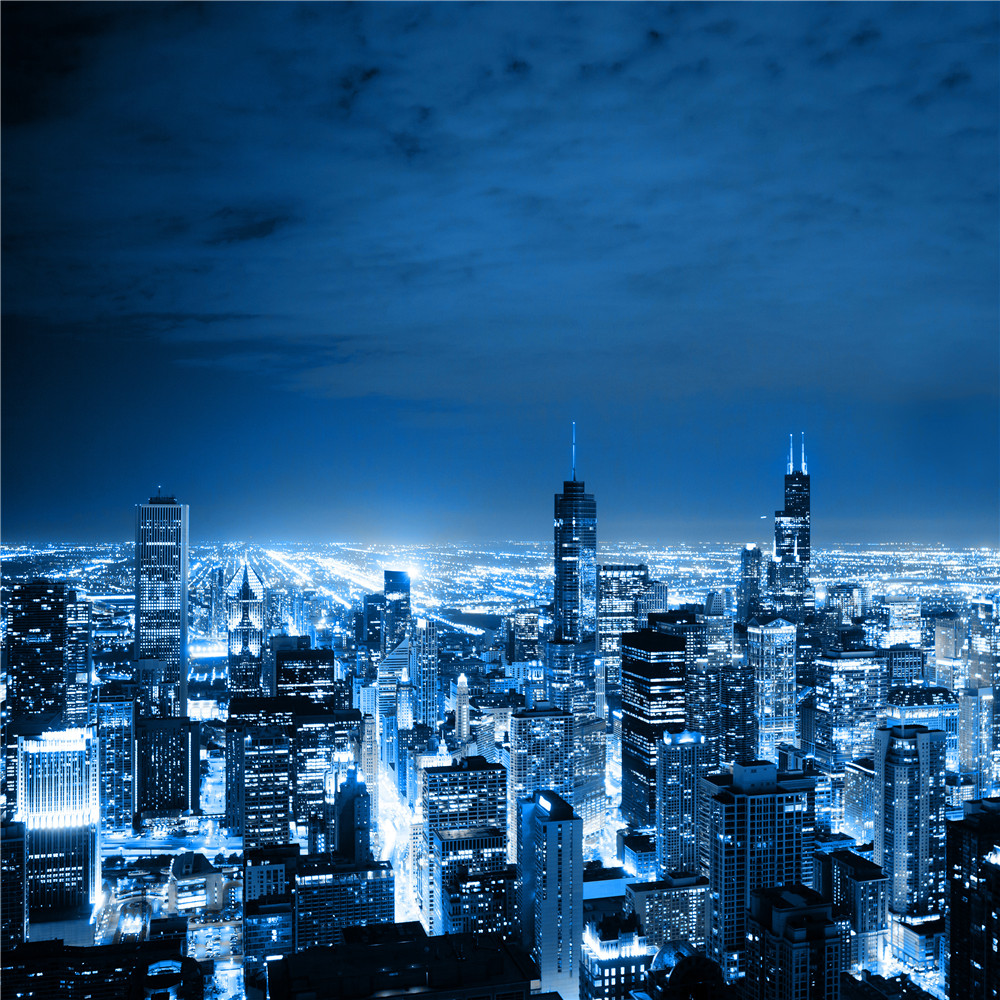 HD Print Modern Busy City Night Sky Bright Lights
