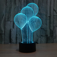 The balloon shape LED 3D night light with touch switch acrylic 7colors auto change illusion lamps for holiday deco table lamp