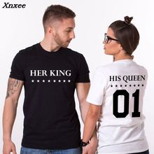 Couple T Shirt King Queen Letter Print In Front and Back Short Sleeve Cotton Tumblr Tee Lovers T-shirts Men Women Summer Tops