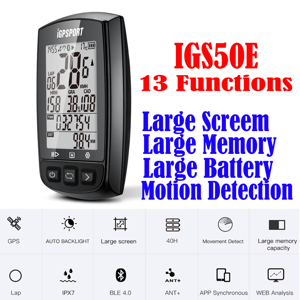 iGPSPORT IGS50E GPS Cycling Computer Wireless IPX7 Waterproof Bicycle Digital Stopwatch Cycling Speedometer ANT+ Bluetooth 4.0 bryton rider 530 gps bicycle bike cycling computer