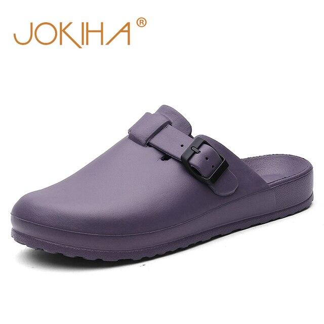 Для женщин классический Антибактериальный хирургические медицинские обувь с закрытым носком без задника тапочки чистых работы горки для Д...