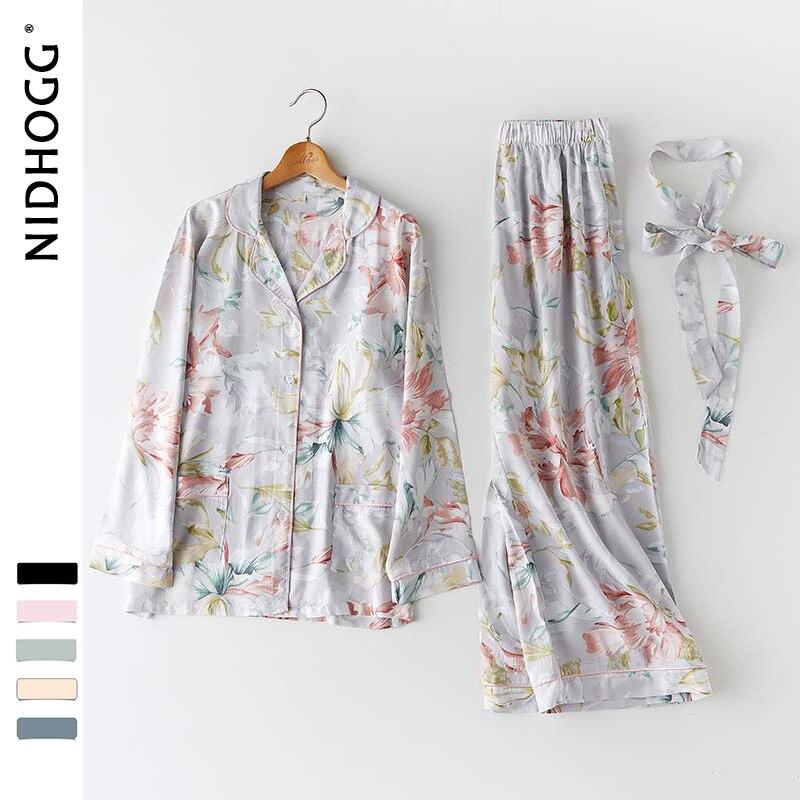 Spring New Japanese Flower Printing Sleepwear Long Sleeve Turn-down Collar Satin Pajamas Womens Luxury Sexy 2 Piece Home Clothes