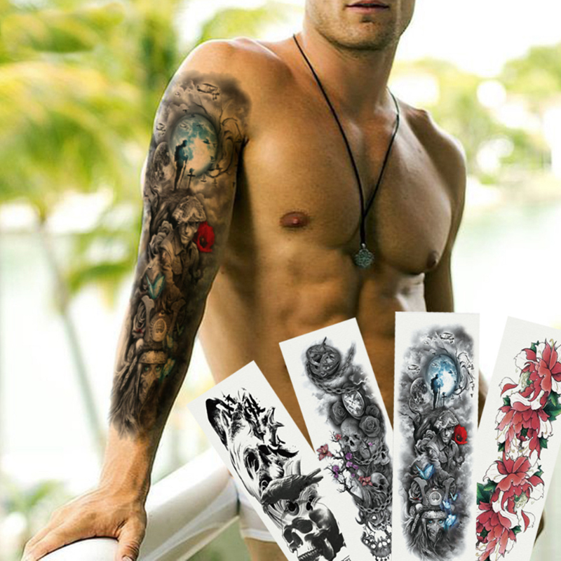 48*17CM Men Full Arm Sleeve Tattoo Army Warrior Soldier Black Temporary Tattoo Sticker Large Waterproof Tatoo Cool Girl Body Art