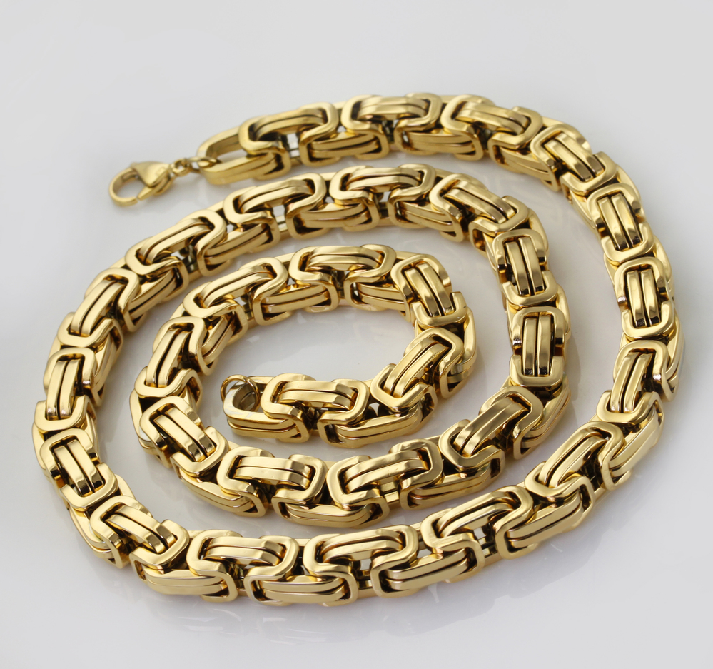 """Mens Gold Byzantine Necklace: Wholesale\ Retail!8""""~40"""" Stainless Steel Gold Color"""