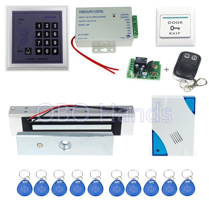 ФОТО Free shipping 13.56MHz MG236B access control+electronic magnetic lock+power supply+key fobs+door bell+exit button+remote control