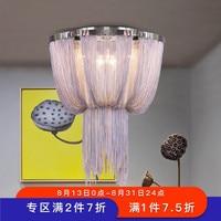 Современный минималистский роскошные кисточки алюминий цепи потолочные светильники атмосферу гостиная спальня отель Вилла лампа почтовы