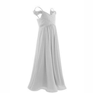 Image 2 - 3 10 yıl Çocuklar Kızlar Kapalı omuz Pilili Şifon Çiçek Kız Elbise kız düğün parti vestidos infantis çocuk Kız Elbise