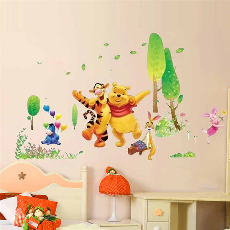 Us 1 54 26 Off Baby Bear Cartoon Diy Wall Stickers For Kids Children Room Decaor Window Winnie Pooh Nursery Decals In
