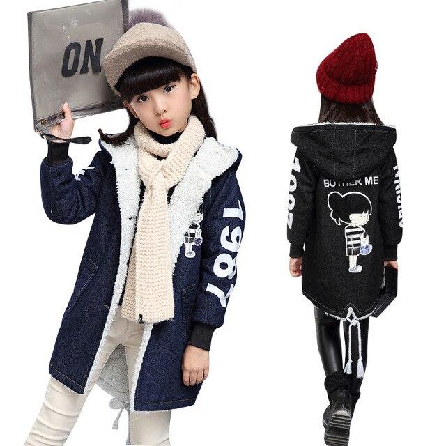 cd09b4cf1 2018 nuevos niños de invierno Denim Chaquetas para Niñas Ropa niños gruesa  caliente abrigos Denim algodón
