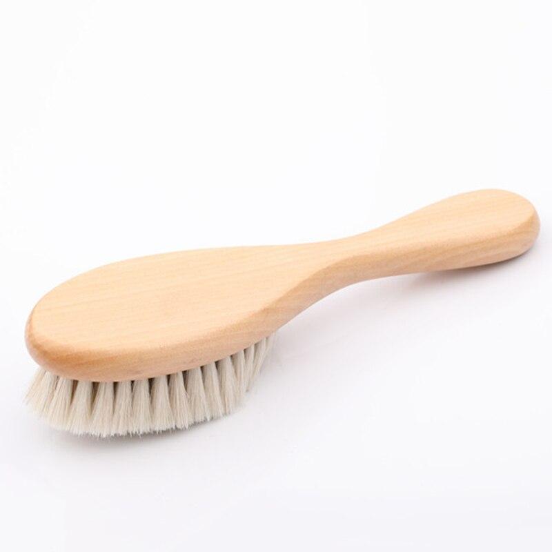 Купить с кэшбэком Natural Soft Goat Bristle Hair Sweeping Brush Men Beard Comb Oval Wood Handle Barber Dust Brush For Broken Hair Cleaning Tool