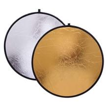2 en 1 80 cm Reflector de Luz Portátil plegable redondo fotografía Reflector oro y plata para accesorios de fotografía retrato