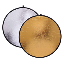 2 in 1 80cm Light Reflector Portable Collapsible Round Photography Reflector Gold & Silver for Portrait Photography Accessories