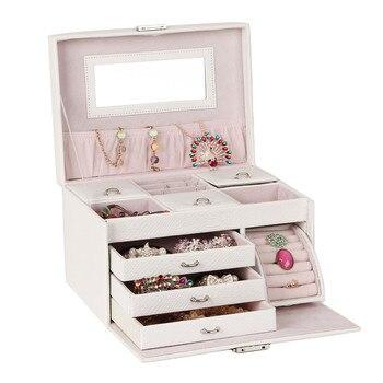 White Large Jewelry Box Travel Case