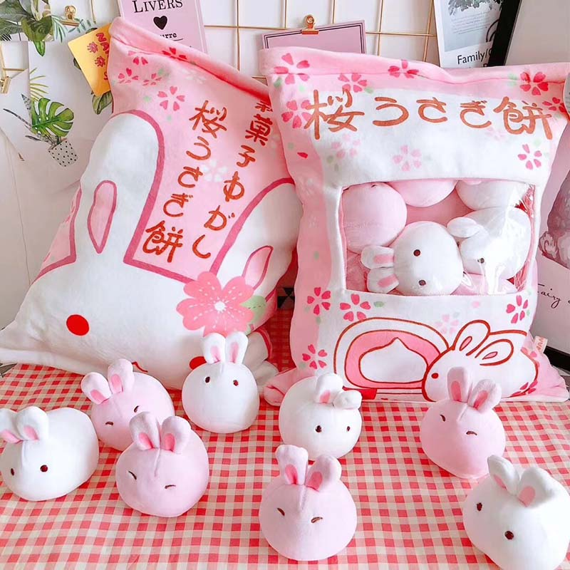 a bag of rabbit pudding plush toys simulation snack throw pillow kawaii pink sakura rabbit plush creative toys for children/her creative cup of giraffe pattern square shape flax pillowcase without pillow inner