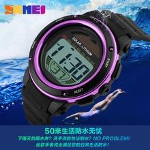 Солнечный Мощность Для женщин часы Для мужчин спортивные часы цифровые Relogio Masculino Водонепроницаемый военные светодиодный Электронные наручные часы Relojes Homme