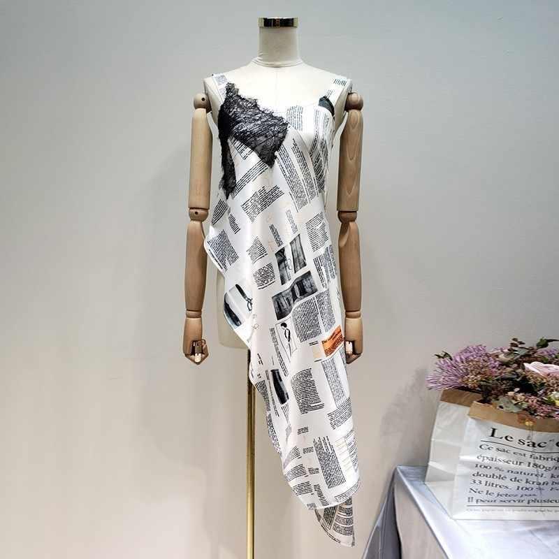 LANMREM 2019 летняя новая модная одежда для женщин кружевное комбинированное необычная на одно плечо маятник без рукавов женское платье YH34312